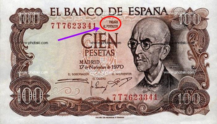 Billete-de-cien-pesetas 1 con indicación